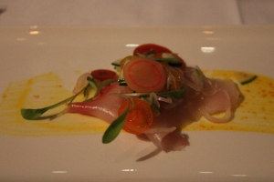 Ceviche of kingfish, tomato and cucumber, Peruvian yellow pepper sauce.