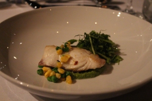 Dhufish, green peas & mint puree; pea tendrils