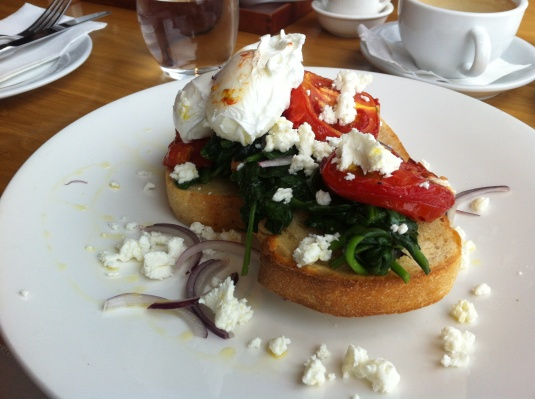 Breakfast Brushcetta, Soudough, Roma Tomatoes, Baby Spinnach, Spanish Onion, Olives, Poached Egg and Soft Goats Cheese