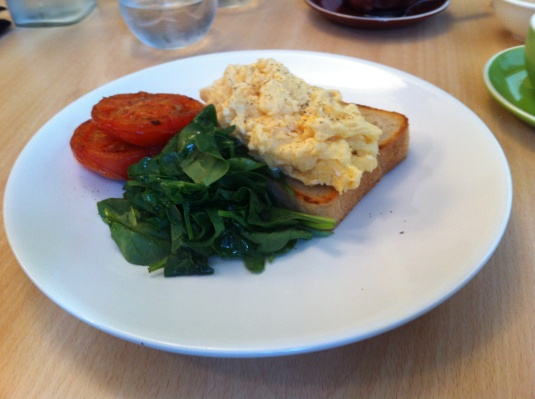 Scrambled eggs, tomato and spinach on sourdough