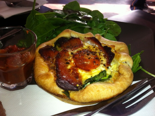 Bacon and Egg Tart with Turkish Relish