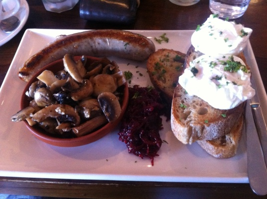 Eggs on Sourdough, House Made Beetroot Relish - Poached with Garlic Mushrooms and Italian Sausage