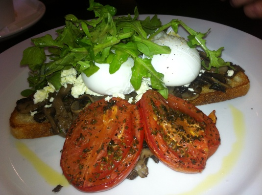 Sautéed mushrooms, poached eggs, rocket, fetta and tomato