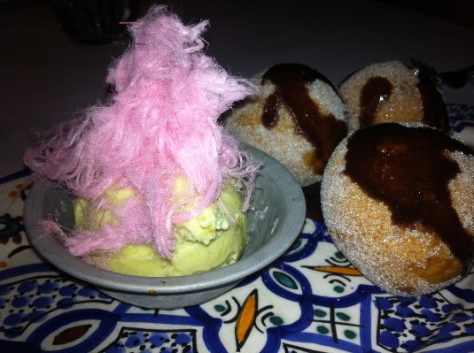 Turkish Delight Stuffed Doughnuts, Cardamom Sugar, Spiced Chocolate Sauce, Pistachio Ice Cream, Persian Pistachio Fairy Floss
