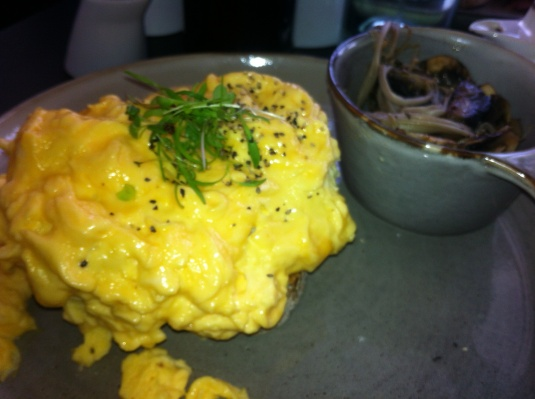 Scrambled Eggs on toast with mushrooms