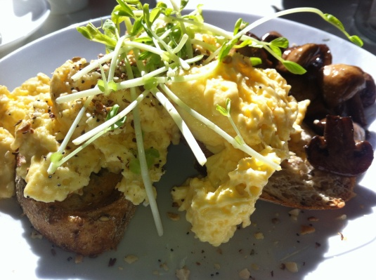 Scrambled Fetta Eggs (minus Fetta) on Sourdough Toast, with Hazelnut Dukkah and a side serve of Mushrooms