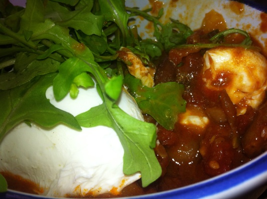 Baked Spanish Beans, Chipotle Chilli and Tomato Ragu, Manchego Cheese, Poached Eggs and Sourdough Toast