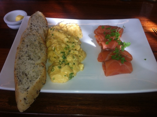 Toast with Scrambled Eggs and Smoked Salmon