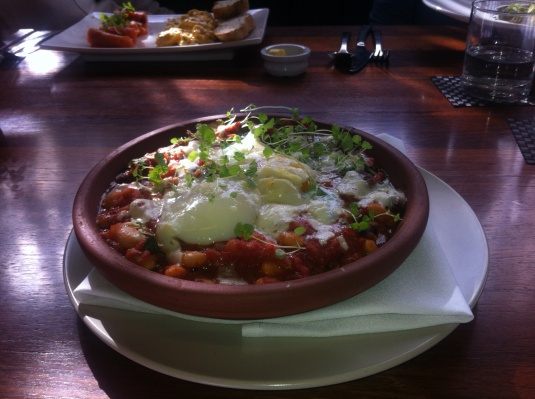 Homemade Bean Cassoulet, Baked eggs & Grana Padano
