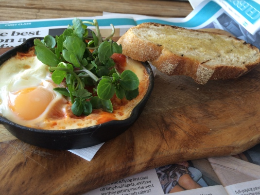 Woodfired baked eggs