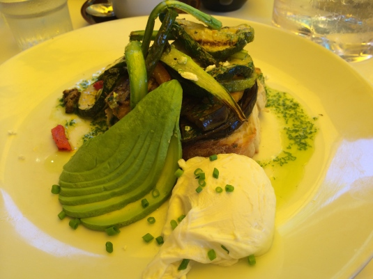 Roast Vegie Bruschetta with Avocado and Poached Egg