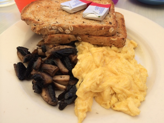 Scrambled Eggs (made with soy) on Toast with a side of Mushrooms
