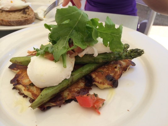 Corn Fritters with Asparagus and Poached Egg